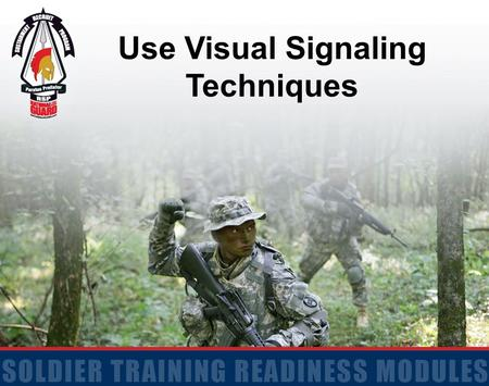 Use Visual Signaling Techniques. 2 Action: Use Visual Signaling Techniques Conditions: Given a requirement to use Visual Signaling Techniques Standards: