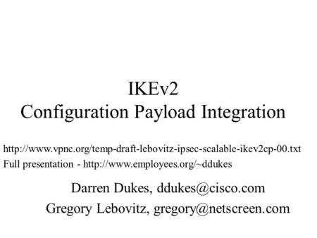 IKEv2 Configuration Payload Integration
