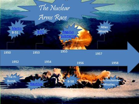 The Nuclear Arms Race 1950 1952 1953 1954 1955 1956 1957 1958 The H- Bomb Minuteman Missiles Nautilus Atlas Missile Regulus Submarine Martin B-51 B-57.