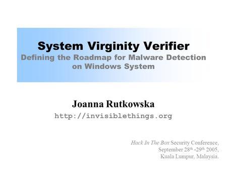 System virginity verifier
