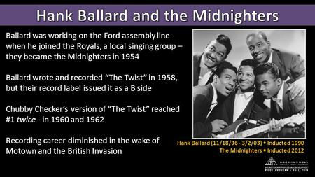 Ballard was working on the Ford assembly line when he joined the Royals, a local singing group – they became the Midnighters in 1954 Ballard wrote and.