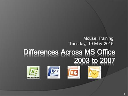 Mouse Training Tuesday, 19 May 2015 1.  New Vocabulary & Terms  New Visual Layout  Differences from Previous Version 2.