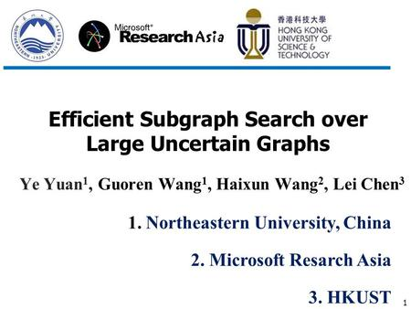 1 Efficient Subgraph Search over Large Uncertain Graphs Ye Yuan 1, Guoren Wang 1, Haixun Wang 2, Lei Chen 3 1. Northeastern University, China 2. Microsoft.