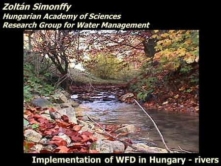 Implementation of WFD in Hungary - rivers Zoltán Simonffy Hungarian Academy of Sciences Research Group for Water Management Zoltán Simonffy Hungarian Academy.