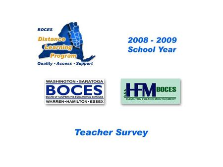 HFM SAN Distance Learning Project Teacher Survey 2008 – 2009 School Year... BOCES Distance Learning Program Quality Access Support.