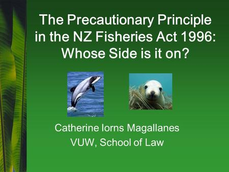 The Precautionary Principle in the NZ Fisheries Act 1996: Whose Side is it on? Catherine Iorns Magallanes VUW, School of Law.