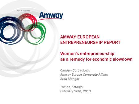 AMWAY EUROPEAN ENTREPRENEURSHIP REPORT Women's entrepreneurship as a remedy for economic slowdown Dear… , dear guests: Let me first of all thank you.