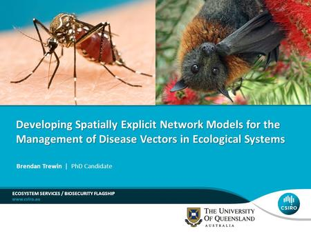 ECOSYSTEM SERVICES / BIOSECURITY FLAGSHIP Brendan Trewin | PhD Candidate Developing Spatially Explicit Network Models for the Management of Disease Vectors.