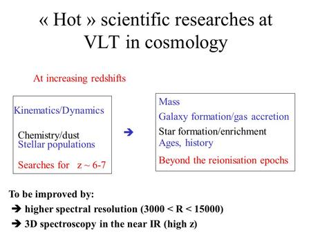 Kinematics/Dynamics  Chemistry/dust  Stellar populations  Searches for z ~ 6-7 « Hot » scientific researches at VLT in cosmology Mass Galaxy formation/gas.