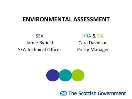ENVIRONMENTAL ASSESSMENT SEA Jamie Byfield SEA Technical Officer HRA & EIA Cara Davidson Policy Manager.