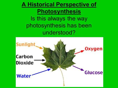 A Historical Perspective of Photosynthesis Is this always the way photosynthesis has been understood?