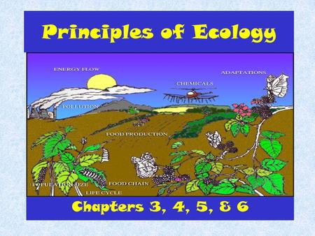 Principles of Ecology Chapters 3, 4, 5, & 6. What is Ecology? Ecology is the study of interactions between organisms and their environment.