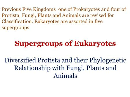 Previous Five Kingdoms one of Prokaryotes and four of Protista, Fungi, Plants and Animals are revised for Classification. Eukaryotes are assorted in five.