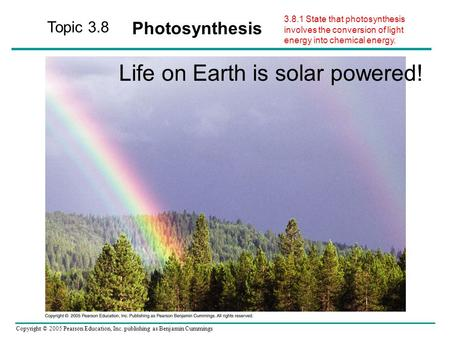 Copyright © 2005 Pearson Education, Inc. publishing as Benjamin Cummings Topic 3.8 Photosynthesis Life on Earth is solar powered! 3.8.1 State that photosynthesis.