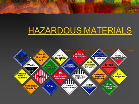 HAZARDOUS MATERIALS. Hazardous materials can be silent killers. Almost every household and workplace has varying amounts of chemicals that, if spilled.