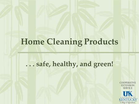 Home Cleaning Products... safe, healthy, and green!
