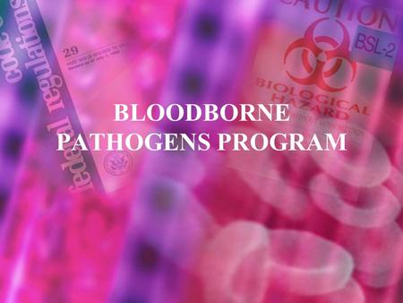 BLOODBORNE PATHOGENS PROGRAM. 2 Overview Program responsibilities. Container labeling Training Disposal Spill mitigation Emergency response procedures.