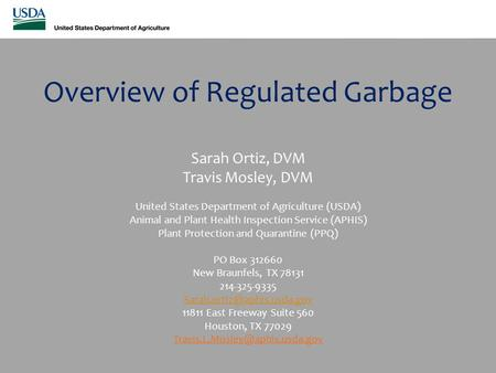 Overview of Regulated Garbage