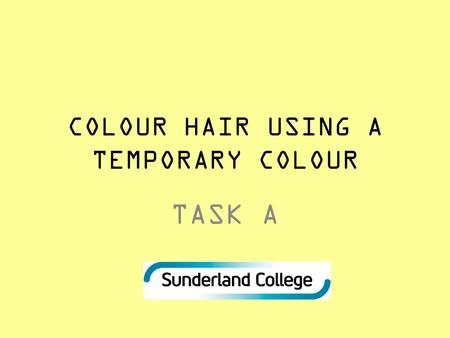 COLOUR HAIR USING A TEMPORARY COLOUR TASK A. Connect activity You will be given a word form the word bag You must describe what your word means.