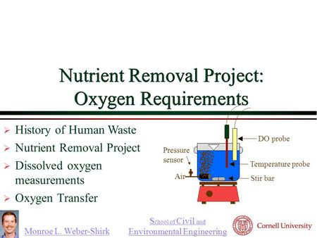 Monroe L. Weber-Shirk S chool of Civil and Environmental Engineering Nutrient Removal Project: Oxygen Requirements  History of Human Waste  Nutrient.