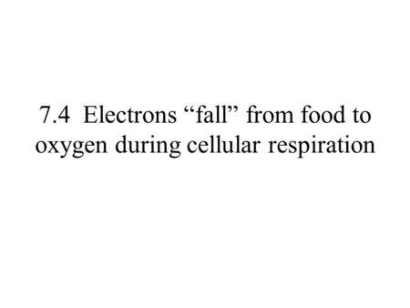 "7.4 Electrons ""fall"" from food to oxygen during cellular respiration."