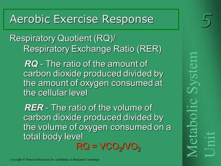 Respiratory Quotient (RQ)/ Respiratory Exchange Ratio (RER) RQ - The ratio of the amount of carbon dioxide produced divided by the amount of oxygen consumed.