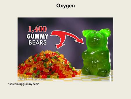 Oxygen screaming gummy bear. Oxygen 21% of the Earth's atmosphere is oxygen.