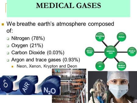 1 MEDICAL GASES We breathe earth's atmosphere composed of:  Nitrogen (78%)  Oxygen (21%)  Carbon Dioxide (0.03%)  Argon and trace gases (0.93%) Neon,