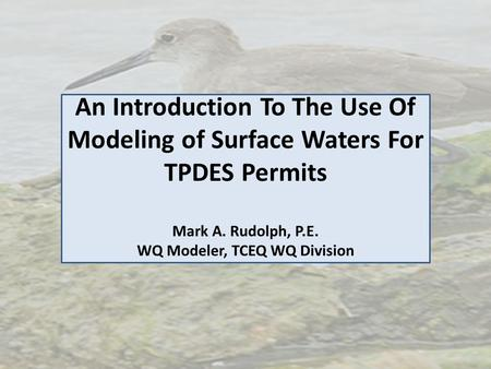 An Introduction To The Use Of Modeling of Surface Waters For TPDES Permits Mark A. Rudolph, P.E. WQ Modeler, TCEQ WQ Division.