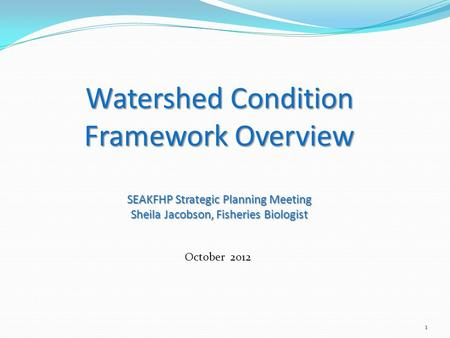 1 Watershed Condition Framework Overview SEAKFHP Strategic Planning Meeting Sheila Jacobson, Fisheries Biologist October 2012.