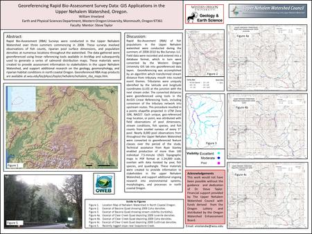Georeferencing Rapid Bio-Assessment Survey Data: GIS Applications in the Upper Nehalem Watershed, Oregon. William Vreeland Earth and Physical Sciences.