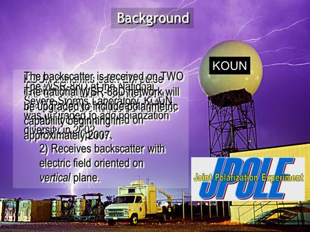 The WSR-88D at the National Severe Storms Laboratory, KOUN, was upgraded to add polarization diversity in 2002. KOUN transmits each EM pulse with an orientation.