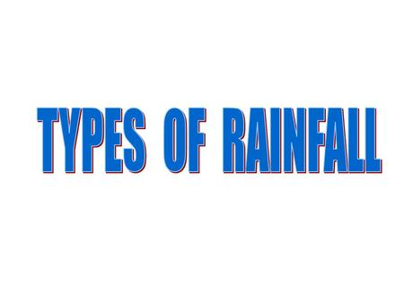 CONVECTIONAL This type os rainfall is characteristic of hot climates The Sun heats the ground and water evapores As water vapour rises, it cools When.