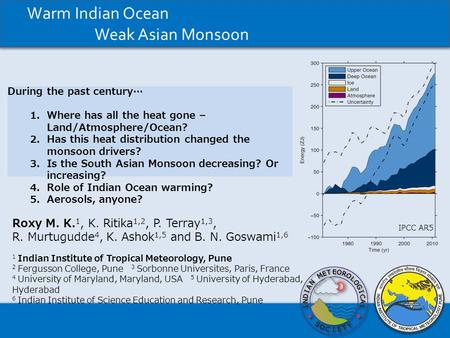 Warm Indian Ocean Weak Asian Monsoon
