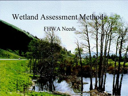 Wetland Assessment Methods FHWA Needs. Laws and Regulations National Environmental Policy Act Section 404 CWA Regulatory Program Executive Order 11990,