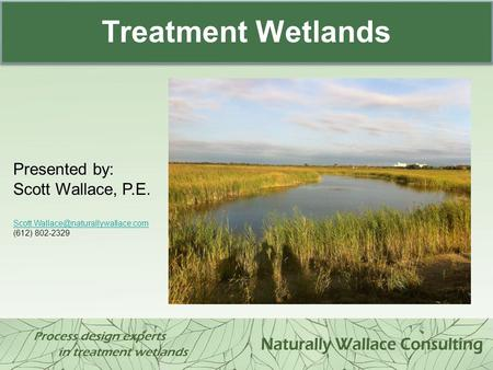 Treatment Wetlands Presented by: Scott Wallace, P.E.