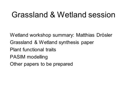 Grassland & Wetland session Wetland workshop summary: Matthias Drösler Grassland & Wetland synthesis paper Plant functional traits PASIM modelling Other.