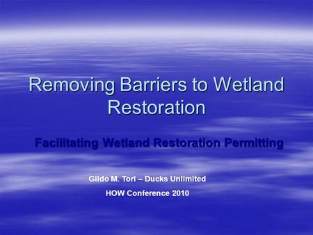 Removing Barriers to Wetland Restoration Facilitating Wetland Restoration Permitting Gildo M. Tori – Ducks Unlimited HOW Conference 2010.