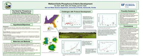 Wetland Soils Phosphorus Criteria Development V.D. Nair*, M.W. Clark, K.R. Reddy, and S.G. Haile Soil and Water Science Department, University of Florida,