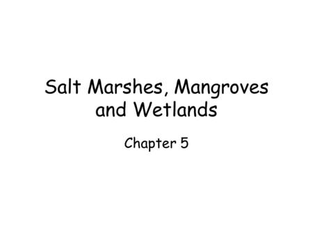 Salt Marshes, Mangroves and Wetlands Chapter 5. Salt marshes Intertidal zone, emergent vegetation Plants have adapted to saline soils, inundation Salt.