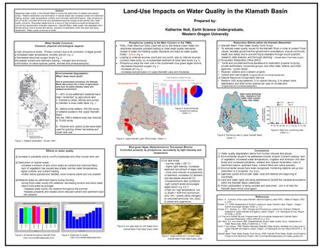 Abstract Degrading water quality in the Klamath Basin is due to the destruction of wetland and riparian zones. Wetland reclamation and elimination of riparian.