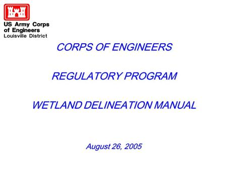 CORPS OF ENGINEERS REGULATORY PROGRAM WETLAND DELINEATION MANUAL August 26, 2005.