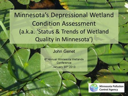 Minnesota's Depressional Wetland Condition Assessment (a.k.a. 'Status & Trends of Wetland Quality in Minnesota') John Genet 6 th Annual Minnesota Wetlands.