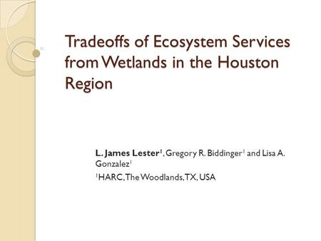 Tradeoffs of Ecosystem Services from Wetlands in the Houston Region L. James Lester 1, Gregory R. Biddinger 1 and Lisa A. Gonzalez 1 1 HARC, The Woodlands,