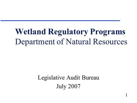 1 Wetland Regulatory Programs Department of Natural Resources Legislative Audit Bureau July 2007.