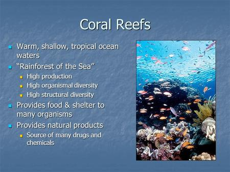 "Coral Reefs Warm, shallow, tropical ocean waters Warm, shallow, tropical ocean waters ""Rainforest of the Sea"" ""Rainforest of the Sea"" High production High."