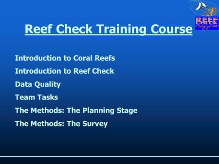 Reef Check Training Course