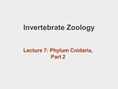 Invertebrate Zoology Lecture 7: Phylum Cnidaria, Part 2.