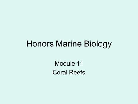 Honors Marine Biology Module 11 Coral Reefs. Class Challenge Share your most unique thing about yourself.