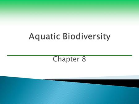 Chapter 8.  Biodiversity  Important ecological and economic services ◦ Moderate atmospheric temperatures ◦ Act as natural barriers protecting coasts.